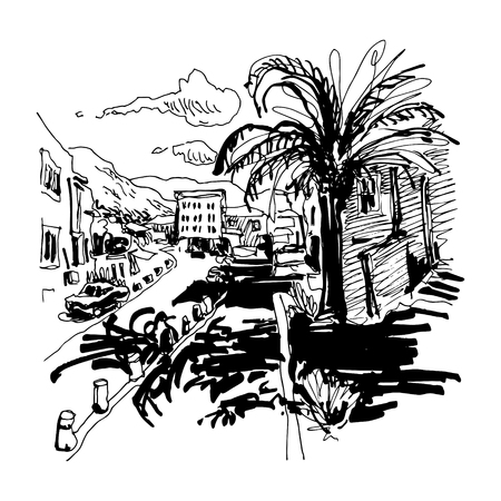 black and white sketch drawing of Petrovac Montenegro street with palm, travel postcard vector illustration