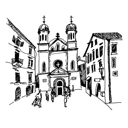 original black and white sketch drawing of Church of Saint Tryphon in Kotor Montenegro