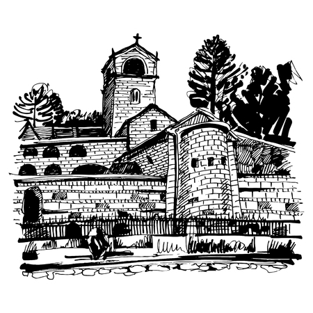 in monastery: black and white hand drawing of Cetinje monastery - ancient capital in Montenegro, travel postcard vector illustration