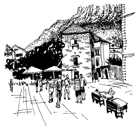 famous place: original black and white sketch drawing of Kotor street - famous place in Montenegro, old town travel postcard vector illustration Illustration