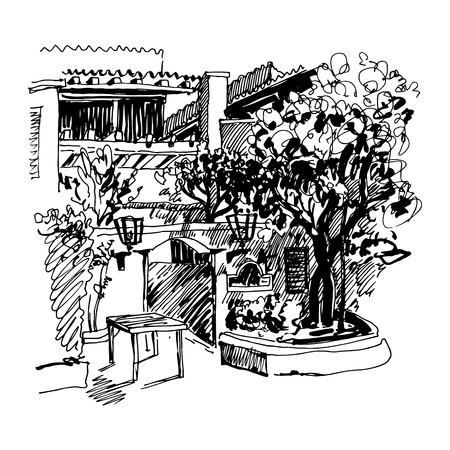 plaza: original black and white sketch drawing of Slovenska Plaza hotel street in Budva, Montenegro, travel postcard vector illustration