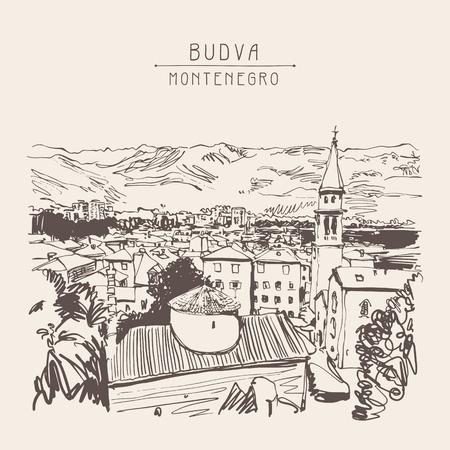 mountain view: sketch art panorama of Budva Montenegro, vintage travel postcard vector illustration