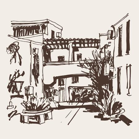 plaza: sketching of street in hotel complex Slovenska Plaza in Budva Riviera Montenegro, travel vector illustration