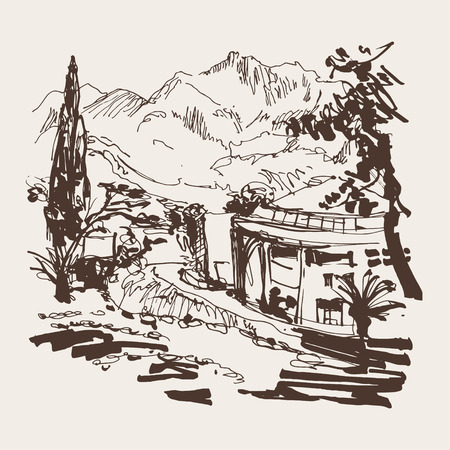 plaza: sketching of park alley view with trees cypress and mountain in Budva Riviera Montenegro (slovenska plaza hotel), travel vector illustration Illustration