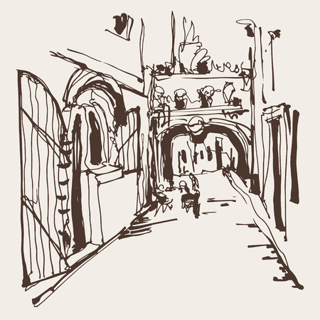 narrow street: ink sketching of historic narrow cobbled street in Budva Montenegro, old town travel vector illustration Illustration