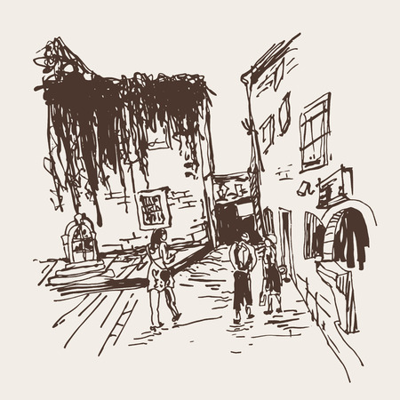 clambering: sketching of old building with clambering plant and people walking in old town Budva Montenegro, travel vector illustration
