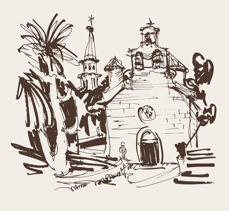 sepia ink drawing of historic church in with palm in Budva Montenegro, old town travel vector illustration