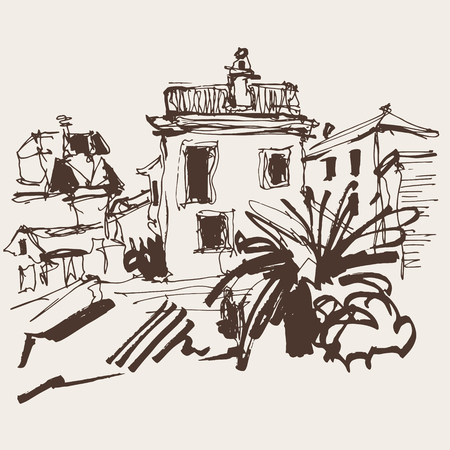 sepia sketch drawing of historical building with palm in Budva Montenegro, old town travel vector illustration