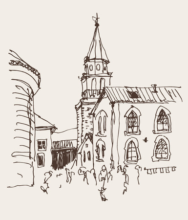 sketch drawing of the bell tower church top view in old town Budva Montenegro, travel vector illustration