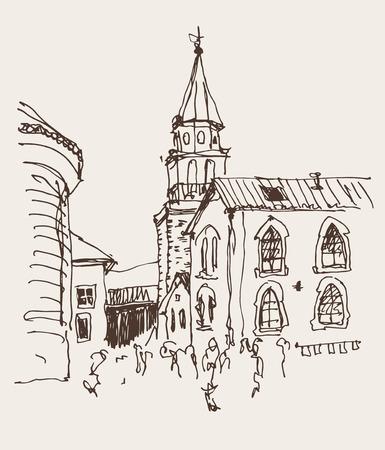 Skizze Zeichnung der Glockenturm der Kirche nach oben Blick in der Altstadt von Budva Montenegro, reisen Vektor-Illustration