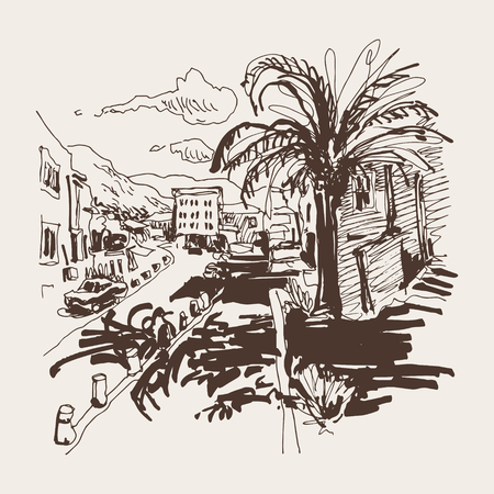 resort: sepia sketch drawing of Petrovac Montenegro street with palm, travel postcard vector illustration