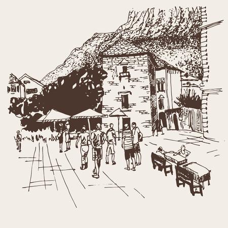 원래 세피아 스케치 드로잉 코 토르 거리 - 몬테네그로, 오래 된 마에서 유명한 장소 엽서 벡터 일러스트 레이 션