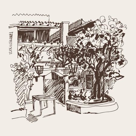 plaza: original sepia sketch drawing of Slovenska Plaza hotel street in Budva, Montenegro, travel postcard vector illustration