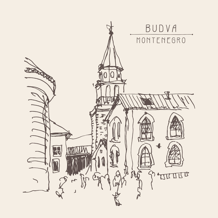 old town: sketch drawing of the bell tower church top view in old town Budva Montenegro, vintage touristic postcard, travel vector illustration Illustration