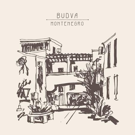 plaza: sketching of street in hotel complex Slovenska Plaza in Budva Riviera Montenegro, vintage touristic postcard, travel vector illustration Illustration