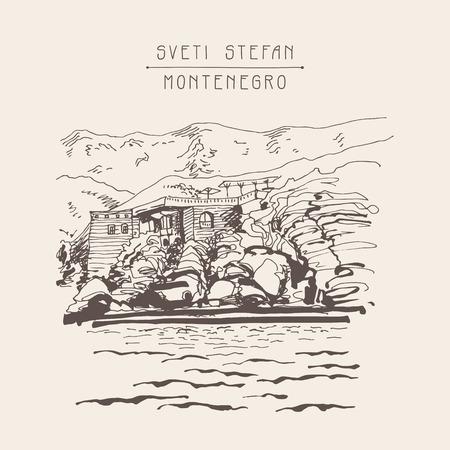 sveti: original sepia sketch drawing of Sveti Stefan island in Montenegro, Balkans, Adriatic sea, Europe, travel postcard vector illustration Illustration
