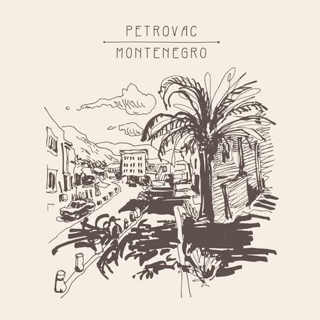 vintage postcard: sepia sketch drawing of Petrovac Montenegro street with palm, vintage touristic postcard, travel postcard vector illustration Illustration
