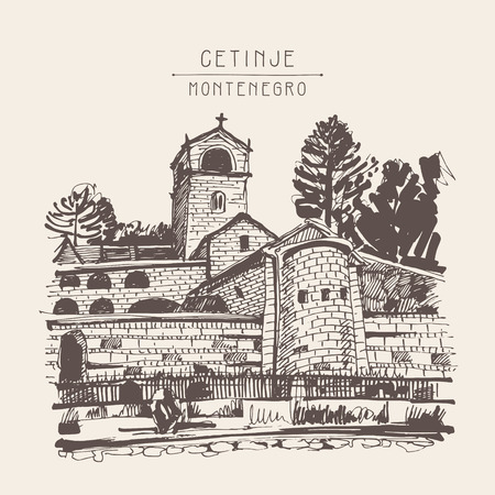 monastery: sepia hand drawing of Cetinje monastery - ancient capital in Montenegro, travel postcard vector illustration