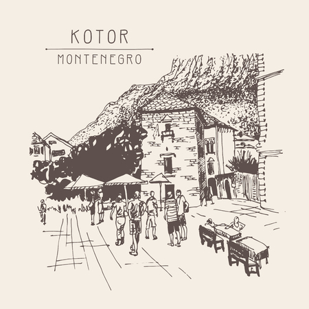 famous place: original sepia sketch drawing of Kotor street - famous place in Montenegro, old town travel postcard vector illustration Illustration