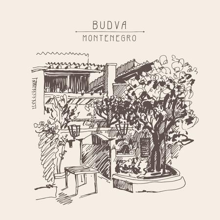 postcard: original sepia sketch drawing of Slovenska Plaza hotel street in Budva, Montenegro, travel postcard vector illustration