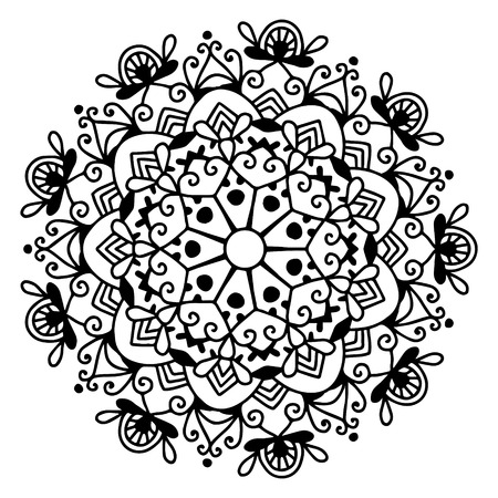 black and white circle lace pattern, christmas design snowflake, ethnic background vector illustration Illustration