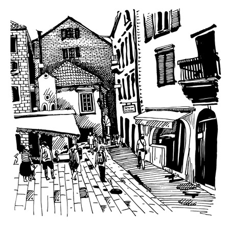original black and white sketch drawing of Kotor street Montenegro, vintage touristic postcard, vector illustration