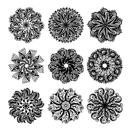 lace vector: black and white circle lace pattern collection, christmas design snowflake set, ethnic background vector illustration Illustration