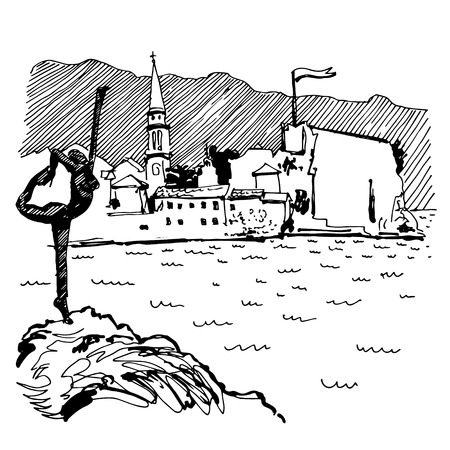 black and white sketch drawing of Budva Montenegro top view with famous skulpture and old town tower, vintage touristic postcard, travel vector illustration Illustration