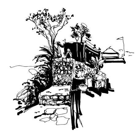 black and white sketch drawing of Budva Montenegro fortress view with stone wall, travel vector illustration