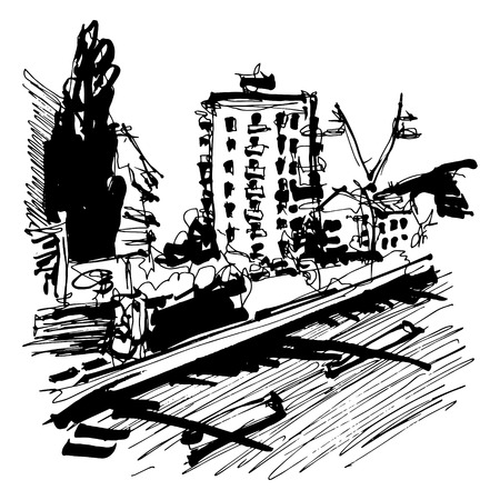 cypress tree: freehand travel sketch drawing of Budva Montenegro contemporary view with road, building and cypress tree, touristic vector illustration Illustration
