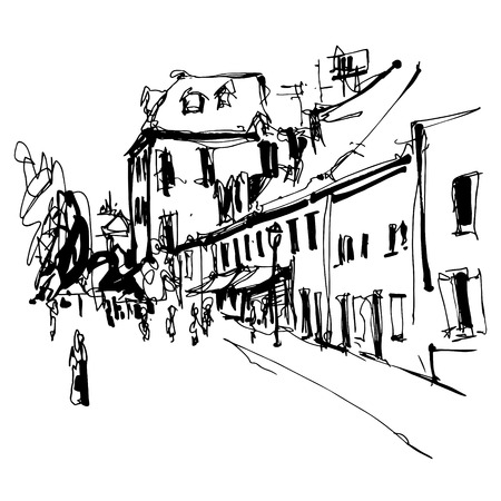 black and white ink hand drawing of Cetinje street - ancient capital in Montenegro, travel postcard vector illustration