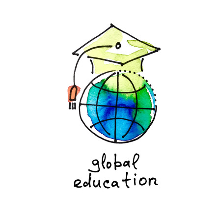 learning icon: sketch watercolor icon of global education, distance online learning concept vector illustration Illustration