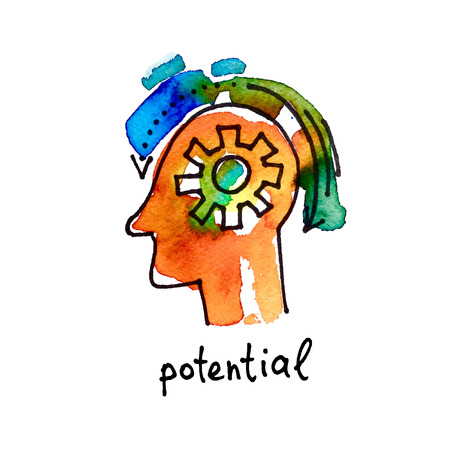 potential: sketch watercolor icon of potential, distance education and online learning concept vector illustration Illustration