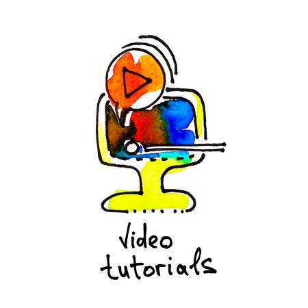 aprendizaje: icono de la acuarela dibujo de tutoriales en vídeo, la educación a distancia y el aprendizaje en línea concepto de ilustración vectorial Vectores