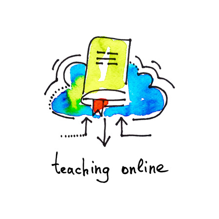 studing: sketch watercolor icon of teaching online, distance education and learning concept vector illustration