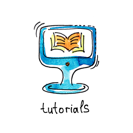 tutorials: sketch watercolor icon of tutorials, distance education and online learning concept vector illustration