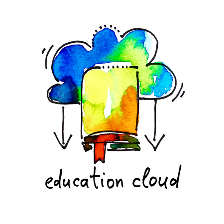 studing: sketch watercolor icon of education cloud, distance and online learning concept vector illustration