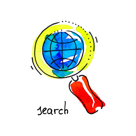 studing: sketch watercolor icon of search, distance education and online learning concept vector illustration