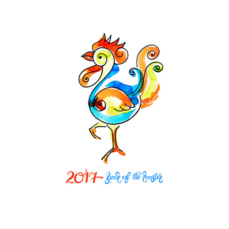 christmas symbol: original watercolor design for new year celebration chinese zodiac signs with decorative rooster, vector illustration with hand written lettering inscription - 2017 year of the rooster