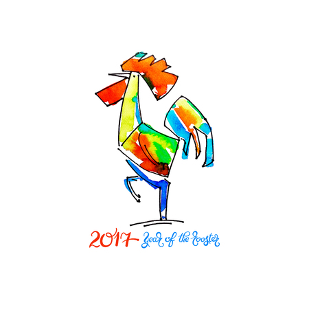 chinese ethnicity: original watercolor design for new year celebration chinese zodiac signs with decorative rooster, vector illustration with hand written lettering inscription - 2017 year of the rooster