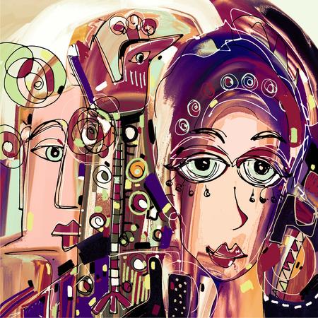 pintura original abstracto digital del rostro humano, la composición de colores en el arte moderno y contemporáneo, ideal para el diseño de interiores, decoración de la página, web y otros, ilustración vectorial Ilustración de vector