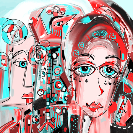 perfect face: digital abstract painting of women face portrait colorful composition in contemporary modern art, perfect for interior design, page decoration, web and other, vector illustration