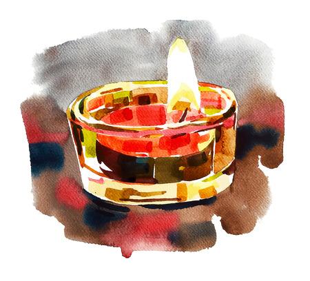 relegion: Watercolor Diwali lighting composition, pattern for Indian festive illustration Illustration
