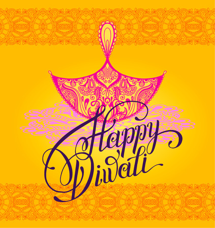 Happy Diwali greeting card with paisley ornamental candle and hand written inscription to indian  fire  community festival, illustration