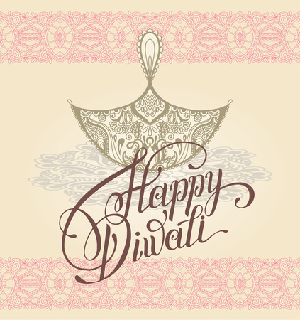 deepawali backdrop: Happy Diwali greeting card with paisley ornamental candle and hand written inscription to indian light community festival, illustration