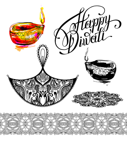 etnia: conjunto de dibujos elemento de diseño para la celebración de Diwali - festival del fuego indio, ilustración