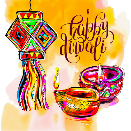 Happy Diwali watercolor greeting card to indian fire festival with lettering inscription, illustration