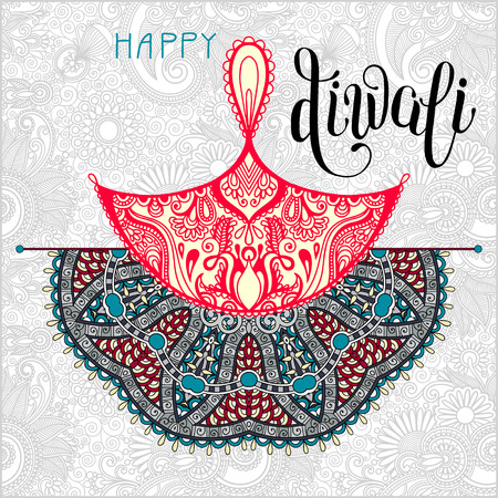 indian light: Happy Diwali greeting card with paisley ornamental candle and written inscription to indian light community festival, illustration