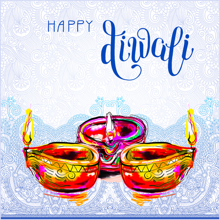 dipawali: Happy Diwali watercolor greeting card to indian fire festival with lettering inscription, illustration
