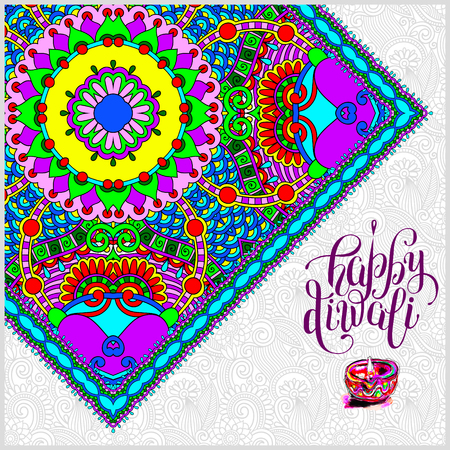 Happy Diwali greeting card with paisley ornamental carpet and  written inscription to indian light community festival, illustration Illustration